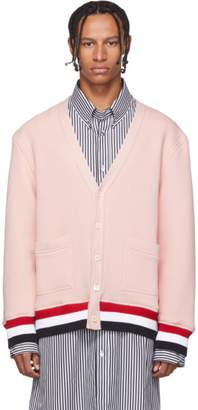 Thom Browne Pink RWB Trim Oversized V-Neck Cardigan