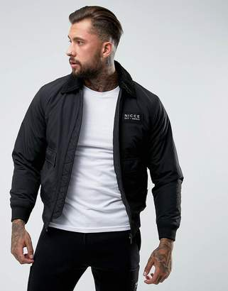 Nicce London bomber jacket in black with fleece collar