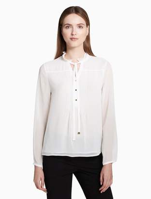 Calvin Klein tie neck long sleeve chiffon top
