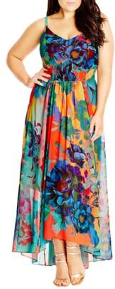 City Chic 'Hot Summer Days' Print High/Low Maxi Dress