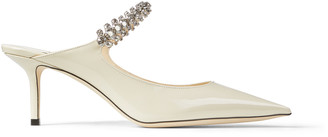 Jimmy Choo BING 65 Linen Patent Leather Mules with Crystal Strap