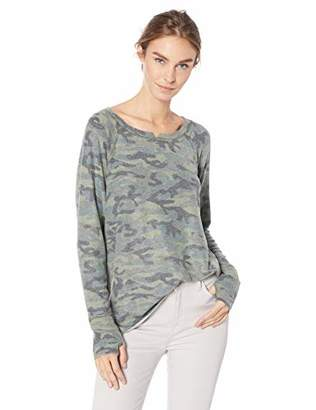 Michael Stars Women's Madison Brushed camo Long Sleeve Notch Neck hi-Low