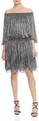 Halston HALSON HERITAGE Off-the-Shoulder Metallic Pleated Dress