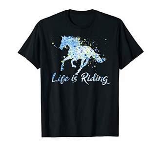 Horse Rider LIFE IS RIDING Love Horses Vintage Girls Women T-Shirt