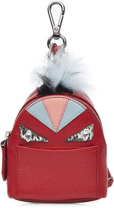 Fendi Leather Backpack Charm with Fox Fur