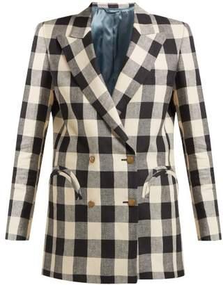 BLAZÉ MILANO Pequod Double Breasted Check Linen Blazer - Womens - Black White