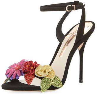 Sophia Webster Lilico Glitter-Flower Ankle-Wrap Sandal