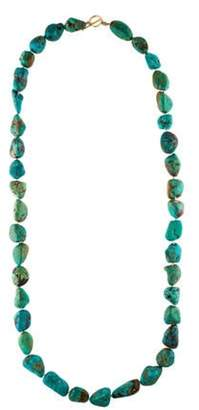14K Turquoise Long Bead Strand Necklace Turquoise 14K Turquoise Long Bead Strand Necklace