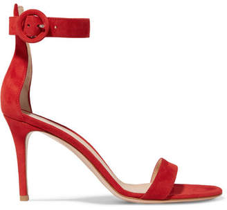 Gianvito Rossi Portofino 85 Suede Sandals - Red