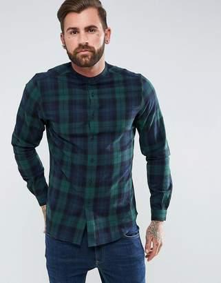 Asos DESIGN regular fit check shirt with grandad collar
