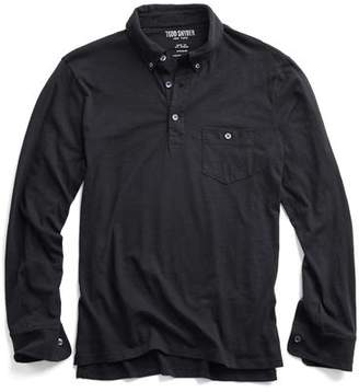 Todd Snyder Made in L.A. Long Sleeve Polo in Black
