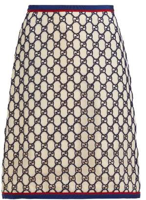 Gucci Gg Cotton Blend Macrame Skirt - Womens - White Multi