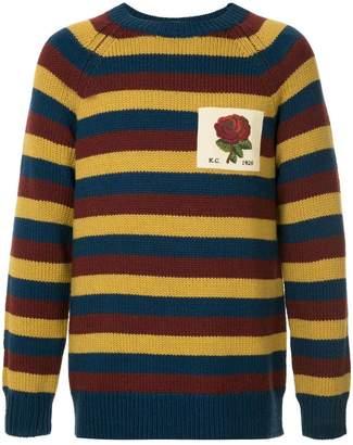 Kent & Curwen striped rose patch jumper