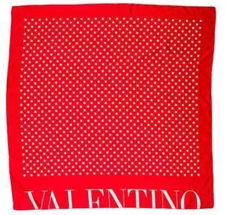 Valentino Polka Dot Print Woven Scarf