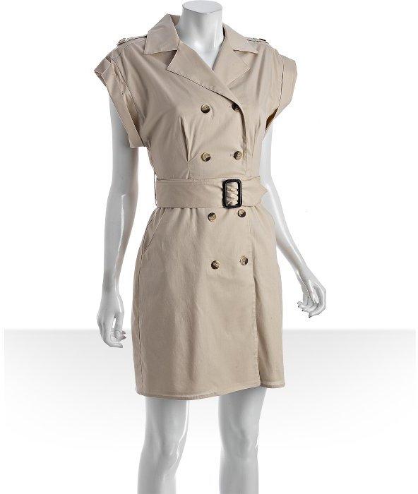 ABS by Allen Schwartz khaki cotton sleeveless trench dress
