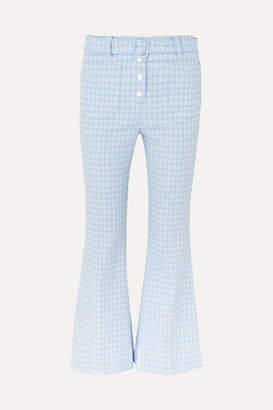 Sara Battaglia Checked Stretch-cotton Cloqué Flared Pants - Blue