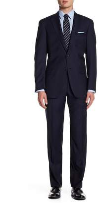 Hart Schaffner Marx Navy Pinstripe Two Button Notch Lapel Wool New York Fit Suit