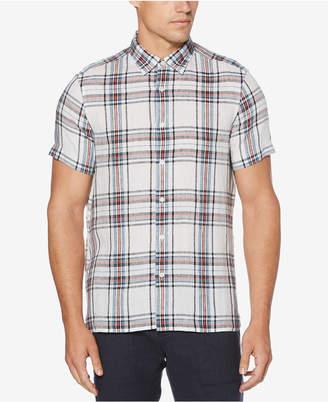 Perry Ellis Men's Regular-Fit Yarn-Dyed Plaid Linen Shirt