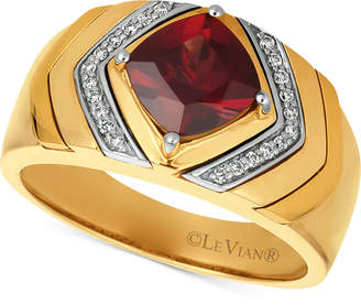LeVian Le Vian Gents Men Pomegranate Garnet (2-1/2 ct. t.w.) & Diamond (1/8 ct. t.w.) Ring in 14k Gold