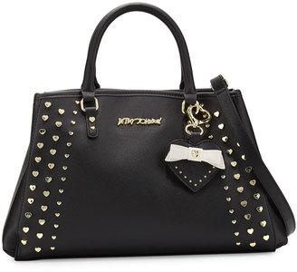 Betsey Johnson Hearts Fire Studded Satchel Bag, Black $95 thestylecure.com