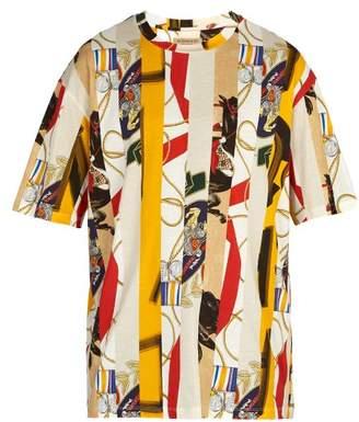 Burberry Stripe Printed Cotton T Shirt - Mens - Multi