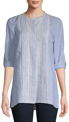 Elie Tahari Women's Buffy Lace-Inset Linen Blouse
