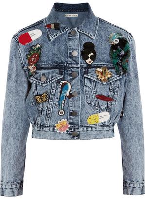 Alice + Olivia - Chloe Appliquéd Denim Jacket - Blue $695 thestylecure.com