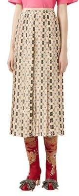 Pleated Logo-Print Crepe de Chine Silk Midi Skirt