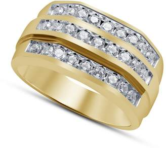 Gents TVS-JEWELS TVS JEWELS Three Row Half Eternity Wedding Band Ring Round White CZ 14k Gold Plated 925 Silver (12.25)