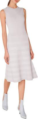 Akris Punto Sleeveless Round-Neck Tonal-Pintucking Knit Midi Dress