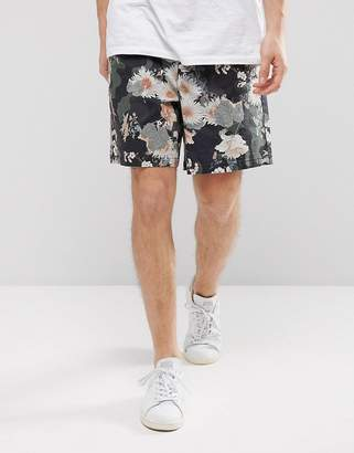Asos Design Elasticated Waist Slim Shorts With Floral Print