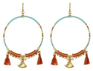Chan Luu Beaded Tassel Hoop Earrings