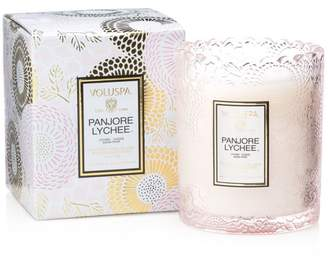 Voluspa Japonica Panjore Lychee Embossed Glass Scalloped Edge Candle