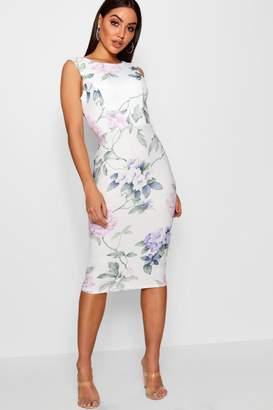 boohoo Floral Open Back Detail Midi Dress