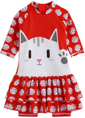 TINFL Vaenait Baby 0-24M Baby Girls Swimsuit Rashguard Swimwear Hello Cat S