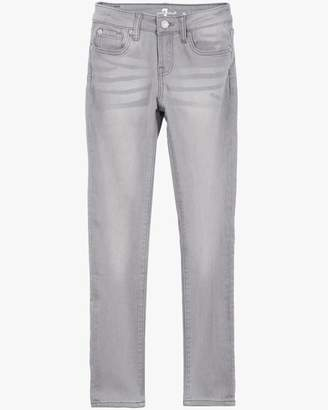 "7 For All Mankind Girls 7-14 ""The Skinny"" 5-Pocket Stretch Denim Jeans in Sterling Grey"