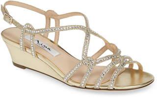 7654dbec4dc0 Nina Fynlee Crystal Embellished Wedge Sandal