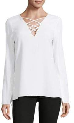 Ramy Brook Allie Lace-Up Stretch Crepe Top