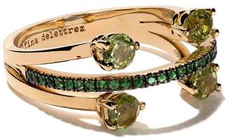 Delfina Delettrez 18kt yellow gold, peridot and tsavorite Linked Dots ring