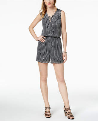 Bar III Striped Lace-Up Romper, Created for Macy's