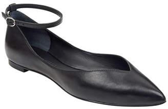 Sigerson Morrison Suzie Leather Ankle-Strap Ballet Flats