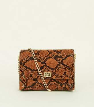 New Look Tan Faux Snakeskin Chain Strap Cross Body Bag