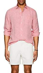 Hartford Men's Linen Chambray Shirt - Red