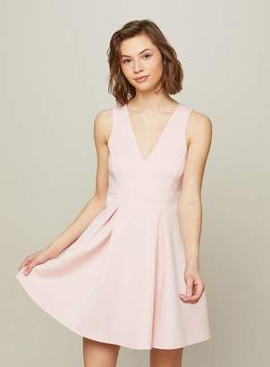 Miss Selfridge Pink scuba fit and flare dress