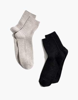 Madewell Two-Pack Ribbed Heather Ankle Socks