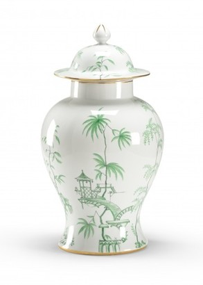 Porcelain Green Chinoiserie Jar with Lid - LOW STOCK,ORDER NOW