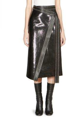 Alexander McQueen Studded Leather Wrap Midi Skirt