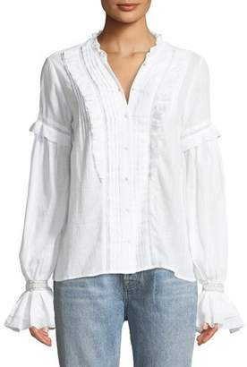 Paige Alonza Long-Sleeve Ruffled Cotton Blouse with Ruffled Trim