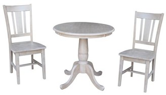 INC International Concepts Wood Pedestal Dining Table and 2 San Remo Chairs in Washed Gray Taupe - Set of 3