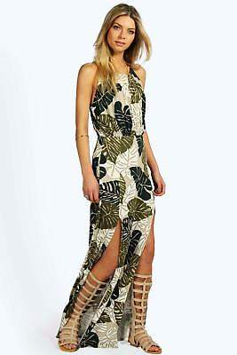 boohoo NEW Womens Tropical Split Front Maxi Dress in Polyester